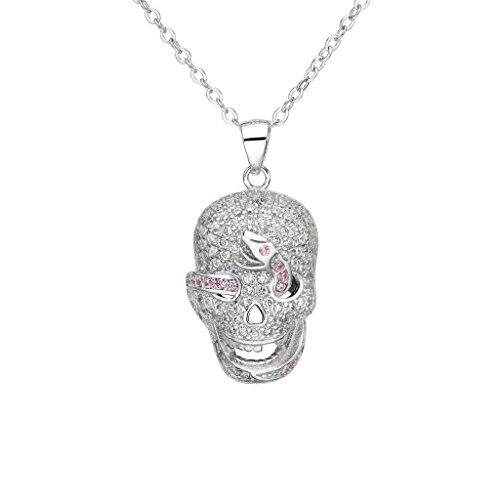 EVER FAITH Women's 925 Sterling Silver CZ Halloween Gothic Skull Pink Snake Pendant Necklace Clear ()