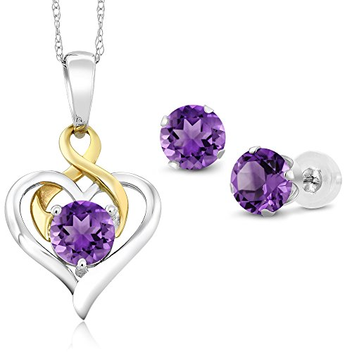 10K Two Tone Gold 1.85 Ct Round Purple Amethyst Pendant Earrings (Amethyst Pendant Earrings)
