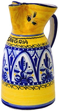 Ceramic Sangria Pitcher from Spain. Fiesta Yellow Pattern