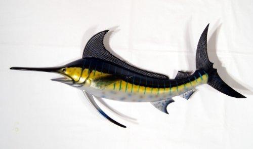 Blue Marlin Sculpture - Hand Painted Jumbo Striped Blue Marlin Salt Walter Game Fish Wall Mount Decor Plaque 48