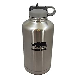64 Oz Growler Stainless Steel Bottle Straw Lid