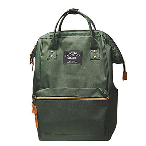 Double Shoulder Bag Backpack School Travel Bag Zipper Bag Unisex Solid Book Bag Vintage Tassel Shoulder Bags (One_Size, Army Green)