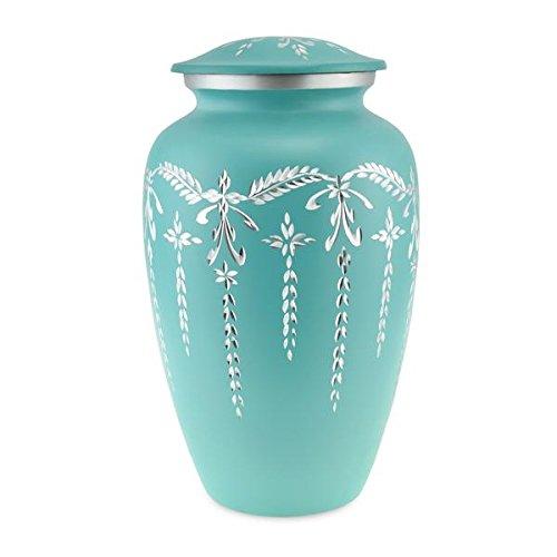 Cherished Urns Flourish Matt Teal Engraved Flourish Adult Cremation Urn for Ashes