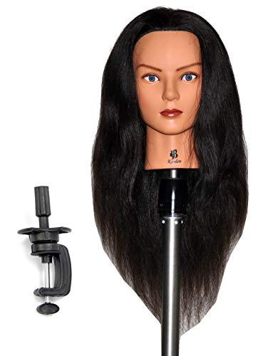 Zvena Beauty 24 100% Human Hair Cosmetology Mannequin Manikin Training Head with Clamp (24 DARK BROWN (KAYLEN+C))