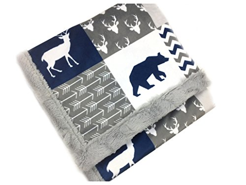 Deluxe Minky Baby Blanket, Woodland style in Navy and Gray, 28