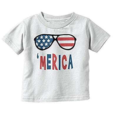 Brisco Brands Merica Funny Hipster American Flag Newborn Cute Baby Toddler Infant T