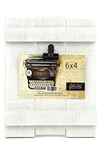 (Green Tree Gallery Whitewashed Wood Fence Clip Frame, Wood, White, for a 6 x 4 inch)