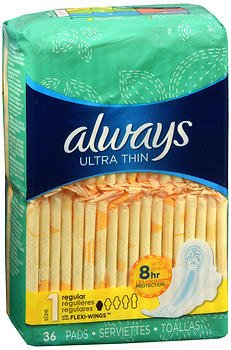 Always Ultra Thin Pads with Flexi-Wings Regular - 6pks of 36ct, Pack of 5