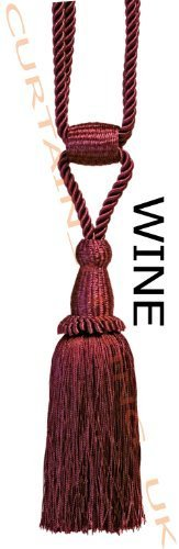 Wine - X2 Monaco Designer Tassel Rope Tie Back For Fabric Curtain by Pandoras Upholstery