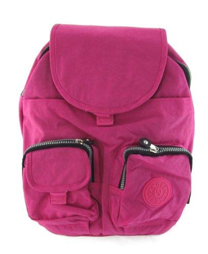 Nylon Rucksack Damentasche Reise Rucksack mit vielen Taschen in Pink
