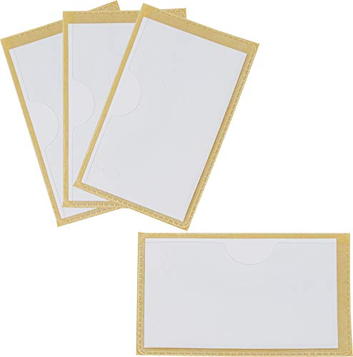 Storex Label Pockets with Adhesive Backing, 3 x 5 Inches, Clear, 4-Pack (71100U01C)