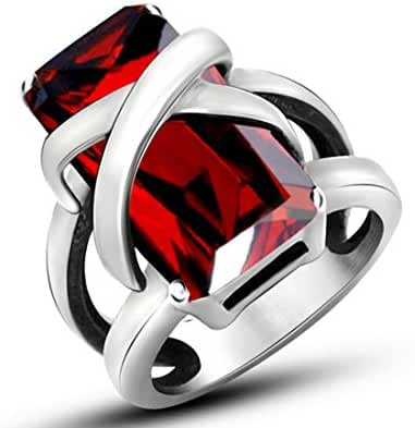 Eastop Gem Lovers Ring Domineering Personality Ruby Ring Steel Titanium Jewelry Size 5-9