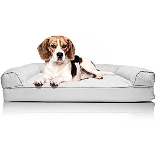 (FurHaven Pet Dog Bed | Orthopedic Quilted Sofa-Style Couch Pet Bed for Dogs & Cats, Silver Gray, Medium)