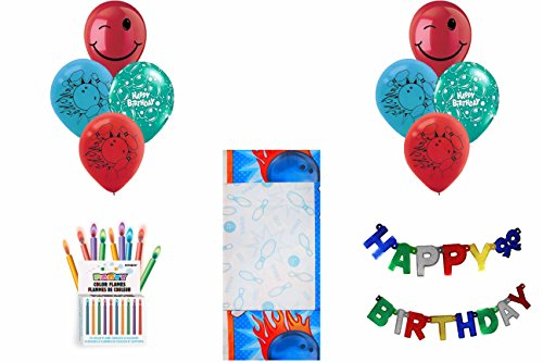 - NEW Bowling STRIKE! Party Pack ~ Tablecover, Flame Candles, Birthday Banner & Balloons