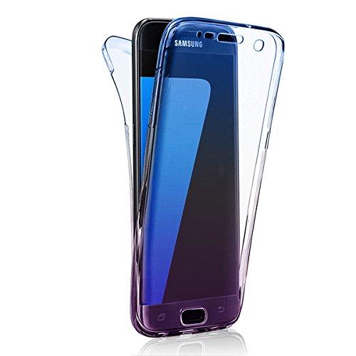 Full Body Funda Galaxy S8 Carcasa (Frontal y Trasero) TPU Claro Transparente 360° Completa Doble Suave Gel de Silicona Flip Samsung S8 Case Cover Bumper Ultra Slim Delgado Cobertura Sleeve Protectora  B-05