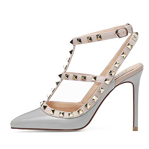 Platform Trim Pump (Chris-T Women Pointed Toe Studded Strappy Slingback High Heel 4 Inches Leather Pumps Stilettos Sandals Grey Size 9 US)