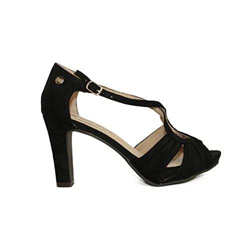 XTI 030563, Zapatos con Tira de Tobillo para Mujer Negro (Black)