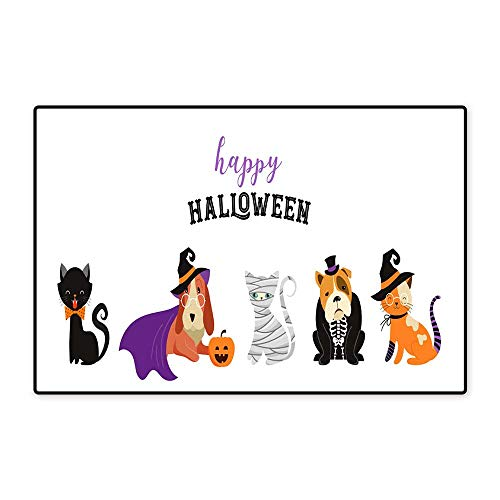 Bath Mat Non slipHappy Halloween Cats and Dogs in Monsters Costumes Halloween Party Vector Illustration Banner Elements Set W15.75 xL23.62