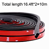 Funlove 32Ft Universal Car Weather Stripping Self Adhesive Automotive Door Rubber Weather Draft Seal Strip for Car Window Door Engine Cover Noise Insulation (B Shape Black,10M)
