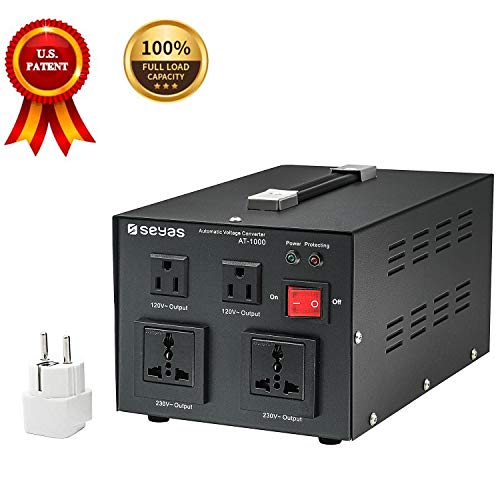 SEYAS 1000W Auto Step Up & Step Down Voltage Transformer Converter, 110-120 to 220-240 Volts, Soft Start & Full Load, 7x24hrs Continous Run, Circuit Breaker Protection, U.S. Patent No. US9225259 B2
