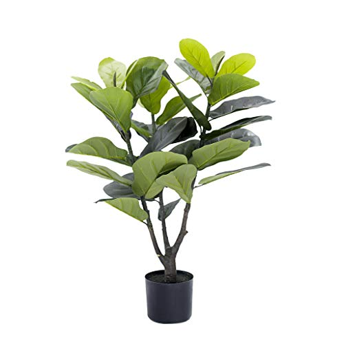 BLOOMR Artificial Potted Fiddle Plant, Trendy Luxury Silk Fabric Green Decorative Indoor Faux Plant, 35″ Tall, 5.7 lbs