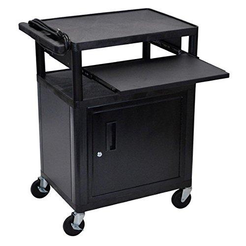 (Luxor LP34CLE-B AV Cart - 3 Shelves, Cabinet, Front)