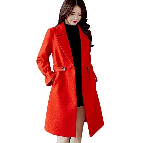 Women Business Coats KIKOY Solid Vintage Winter Long Sleeve Button Wool - Vinyl Jacket Long Sleeve
