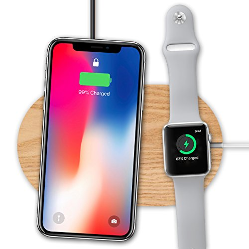 Fast Wireless Charger & Apple Watch Stand, VAKO Wood Qi Wireless Charging Pad for Apple iPhone X/ iPhone 8/8 Plus, Samsung Galaxy Note 8/ S8 / S8+ and All Qi-Enabled Device (Wood) Oem Wood