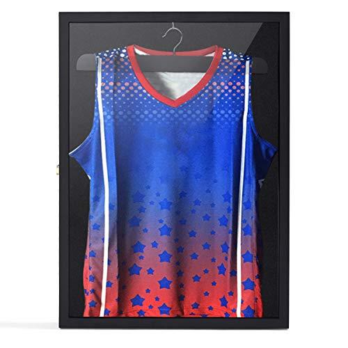 JAXPETY Jersey Display Case Basketball Baseball Football Hockey Soccer UV Shadowbox Black