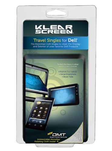Klear Screen Dell Travel Singles. Cleaning Wipes with Microfiber Cloth (DTS)
