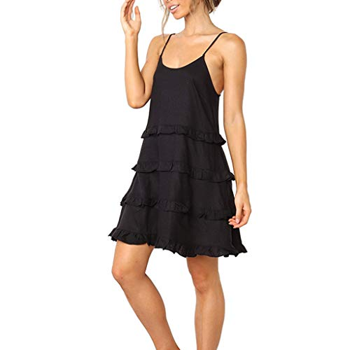 Sunhusing Women Solid Color Layered Pleated Ruffled Round Neck Spaghetti Camisole Dress Holiday Mini Sundress Black ()