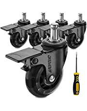 AGPTEK Office Chair Casters Heavy Duty with Screwdriver, Safe Roller Wheel Replacement for Hardwood Floors Mat Carpet Tile - Set of 5 All with Brake System