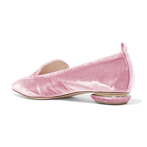 Fsj Kvinnor Mode Spetsig Tå Pumpar Låga Klackar Tillfälliga Loafers Halka På Sommarskor Storlek 4-15 Oss Rosa