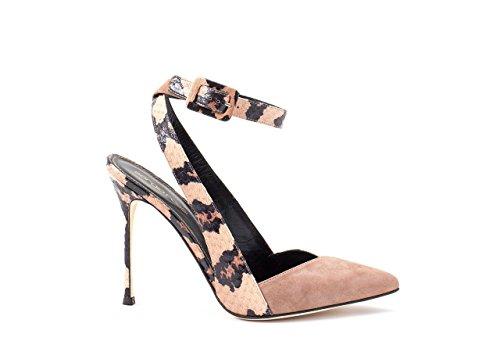 Sergio Rossi Suede Platform Pump - Sergio Rossi Slingback Heels, Luxury Italian Platforms for Women, Bright Skin, Pointed Closed Toe Pump, 100mm Heel, Suede & Elaphe, Made in Italy