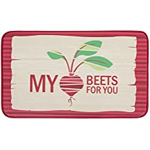 """Chef Gear 18"""" x 30"""" Anti-Fatigue Faux Leather 'My Heart Beets For You' Kitchen Mat"""