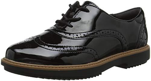 Clarks Cordones Negro de Black Pat Zapatos Hilde Mujer Raisie para Brogue IqwIU46r