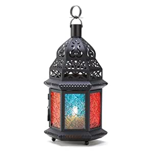 Gifts & Decor Multi Color Glass Panel Moroccan Candle Lantern Stand