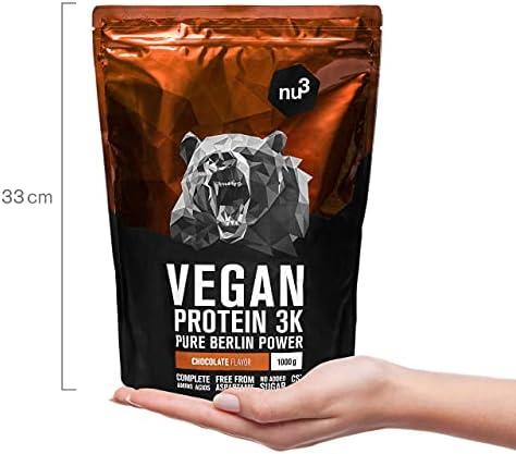 nu3 Proteína Vegana 3K – 1kg vainilla + 1kg chocolate – min. 70% de proteína a base de 3 componentes vegetales – Proteínas para el crecimiento de la ...