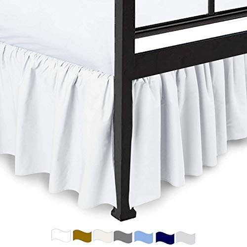 Bhoomi Impex Ruffled Bed Skirt with Split Corners -Queen, White Solid, 14 Inch Drop 100% Poly Cotton Luxurious Sheets and Décor Your Room with Comfy