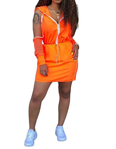 Salimdy Womens Mesh Stripe 2 Pieces Outfits Mini Dress Off Shoulder Long Sleeve Zip up Drawstring Hoodie Skirts Set Orange S