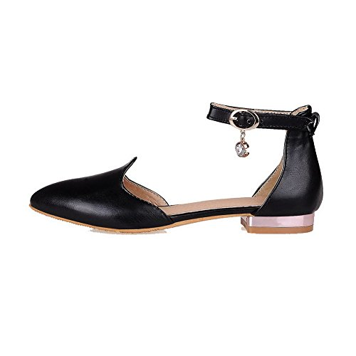 Pumps Solid Buckle Heels AmoonyFashion Womens Black Shoes PU Low Toe Pointed 8qxqHTP5
