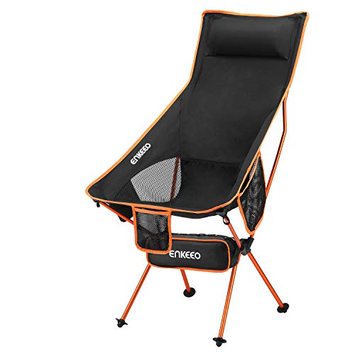 ENKEEO Camping Folding Chair Portable Lightweight Mesh Seat with 330 lbs Capacity, Built-in Pillow, 3 Pockets, Backrest and Carry Bag for Backpacking, Fishing, Hiking, Picnic, Travel and Beach- Orange