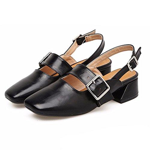 Sandali casual neri con punta rotonda per donna lI99JYu