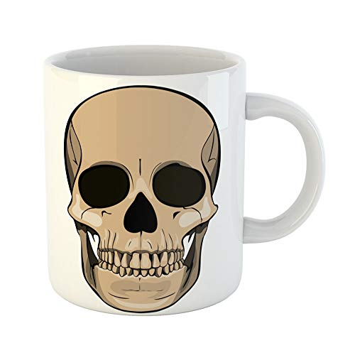 Emvency Coffee Tea Mug Gift 11 Ounces Funny Ceramic Contour of the Human Skull Cry Dead Fear Gifts For Family Friends Coworkers Boss Mug