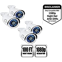 Night Owl Security 4 pack of Indoor/Outdoor 1080p Security Bullet Cameras with 100ft. of Night VisionOnly compatible with AHD Series DVRs