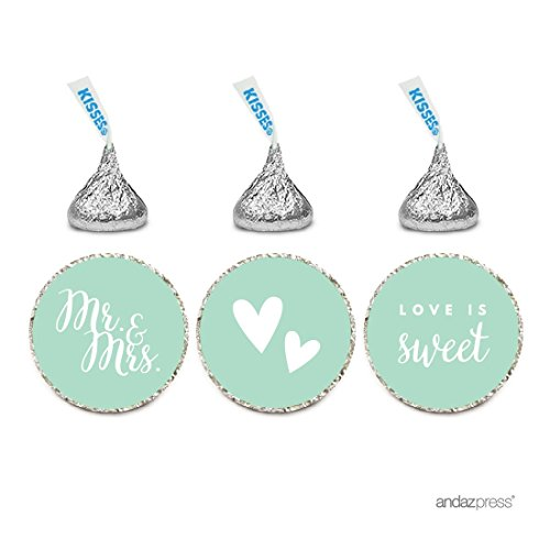 Andaz Press Chocolate Drop Labels Trio, Fits Hershey's Kisses, Wedding Mr. & Mrs., Mint Green, 216-Pack, For Bridal Shower, Engagement Party Favors, Gifts, Stationery, Envelopes, Decor, -