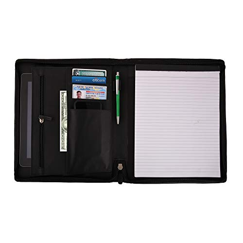 Carvex Leather Padfolio Executive Leather Writing Portfolio, Document Holder, Business Case (Black)