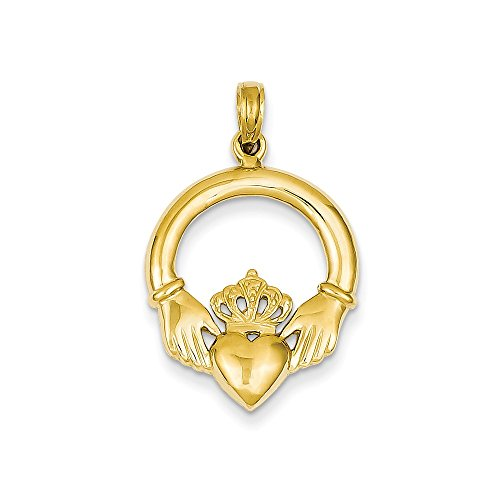 Charm Polished Claddagh Gold (14k Yellow Gold Polished Claddagh Charm Pendant)