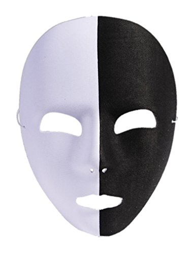 Forum Novelties 76466 Unisex-Adults Mask Black/Half White, White, Black, Standard, Multicolor]()