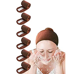 EUICAE Spa Headband Hair Wrap Sweat Headband Head Wrap Hair Towel Wrap Non-slip Stretchable Washable Makeup Headband for Face Wash Facial Treatment Sport Salon Fits All Pack of 6 All Brown